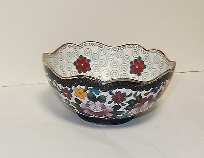 Floral Blossoms Cloisonne White Enamel Inaba Small Bowl Signed
