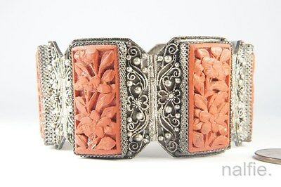 ANTIQUE CHINESE SILVER FILIGREE & CARVED CINNABAR LACQUER BRACELET c1900