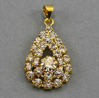 5x Rhinestone Crystal Gold Plated Teardrop Pendants Charms Diamante Beads 25mm