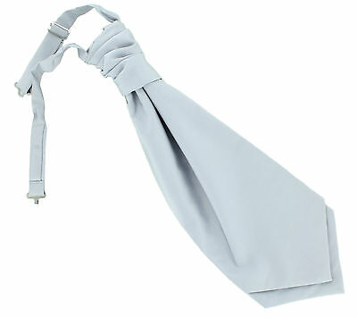 Mens Plain Wedding Cravat Ruche Tie