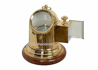 Vintage Antique Brass Binnacle Compass  Lamp Nautical  Compass with wooden base