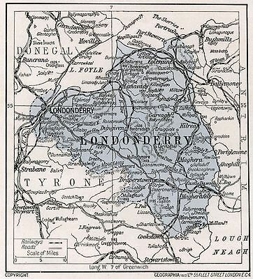 1923 map of Ireland: County Londonderry antique ready-mounted print SUPERB