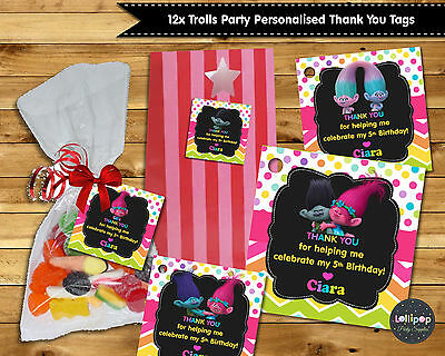 12X Trolls Thank You Favour Gift Tags Labels Lolly Bag Birthday Party Supplies