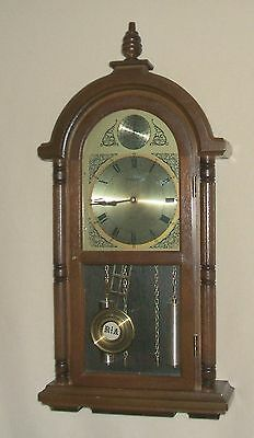 Commodore Clock with Faux Weights and Westminster Chimes- Wall, Mantel, or Shelf