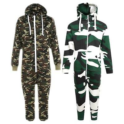 Kids Army Camo Print Onezie Hooded Jumpsuit All In One Boys Girls Fleece 7-14 Yr