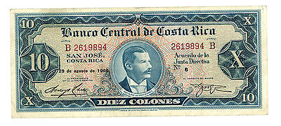 Costa Rica … P-229 … 10 Colones … 29-Aug-1966 … *VF-XF*