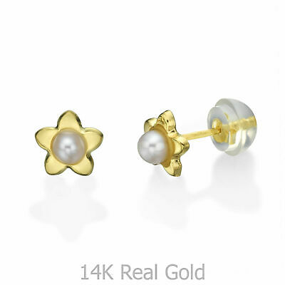 1f5d3faef Pearl Studs 14K Solid Gold Natural Star Delicate Children Gifts Girls  Jewelry