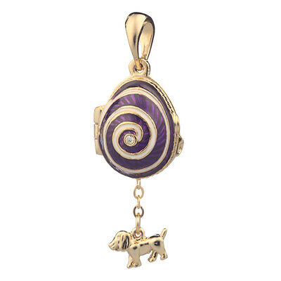 Faberge Egg Pendant / Charm with Dog 2.1 cm purple #2801-01