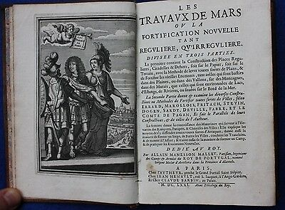 Original antique atlas SIEGE WAR 'LES TRAVAUX DE MARS',A.M. Mallet, 1st ed 1671