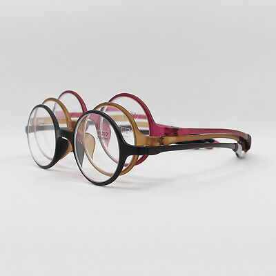 Black Brown Wine Round TR-90 Flexible Portable Reading Glasses +1.00 to +4.00