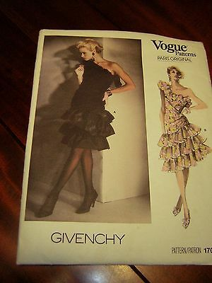 1986 Vogue Sewing Pattern Givenchy Cocktail Dress   sz12  #1702