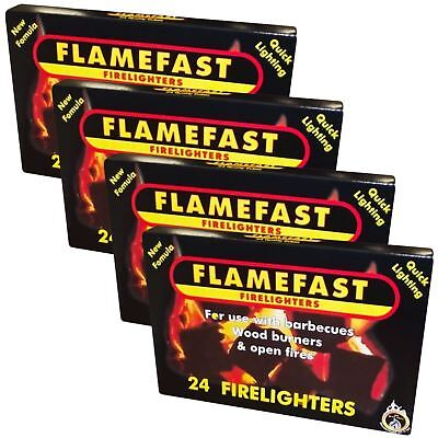 Flamefast 4 x 24 Pack = 96 Firelighters Quick Barbecue Wood Burner Fire Starters