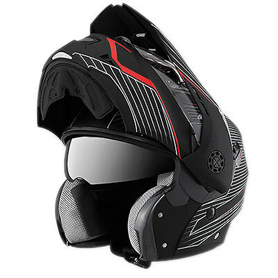 New Carberg Tourmax Sonic Matt Black Red Motorcycle Flip Up Helmet