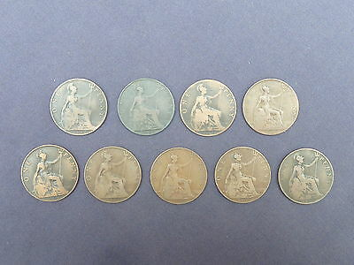 KING EDWARD 7TH 1902 - 1910 COMPLETE 1d's PENNY SET