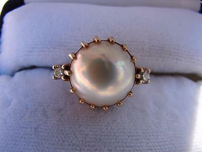 Vintage 14k Yellow Gold Mabe Pearl Diamond Cocktail Ring Estate Jewelry  size 6