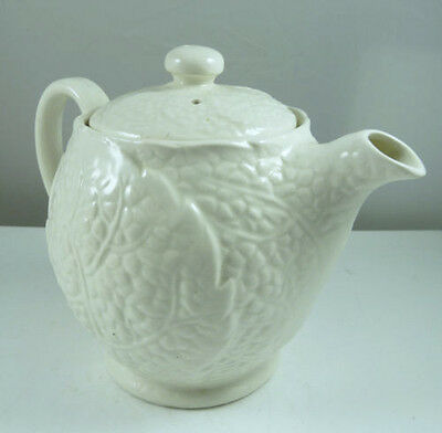 Vintage Creamware Cabbage Leaf Pattern Small Pottery Teapot