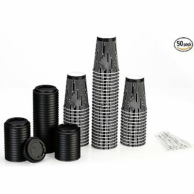 Disposable Coffee Cups with Lids and Stirrers 50 pack - 12 oz Insulated Paper -