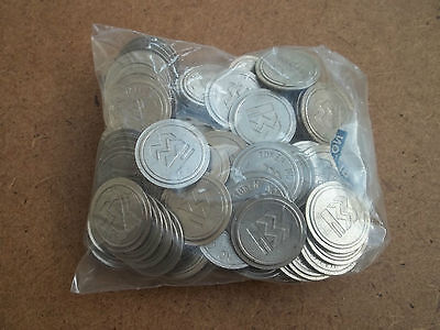 TOKENS  bulk bag 100   22mm x 2mm non magnetic (usually 20pstake  no cash value)
