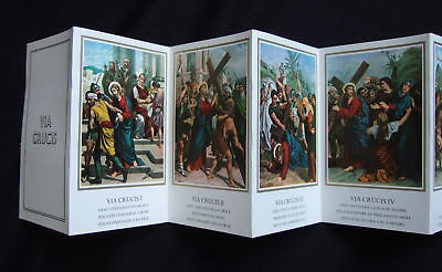 Foldout Catholic Holy Cards 14 Stations of the Cross pictures VIA CRUCIS Italy