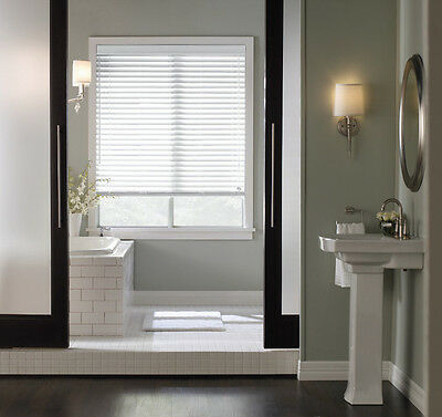 "Whole Home Basswood Natural Wood Window Blinds With 2"" Slats in White 71 x 35½"""
