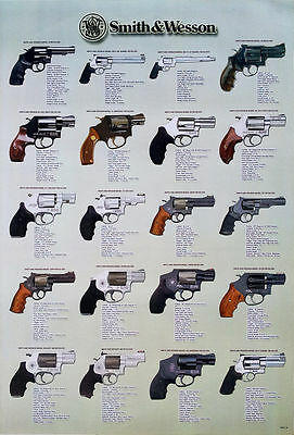 """NEW SMITH & WESSON GUNS THE POSTER 24""""x36"""" EDUCATION MANY MODEL SHEET O-6030"""