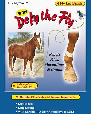 """DEFY THE FLY Horse All Natural Leg Bands Repels Insects Equine 8.5""""-10"""" 4ct"""