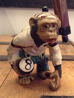 Vintage Retro Mid Century Figure Of A Chimp Monkey With An 8 Ball