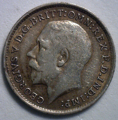 1913 Silver 3 Pence Great Britain UK Coin YG