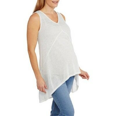 California Happenings Maternity Vneck Hi-Low Tank Top, White, Medium
