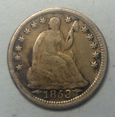 """1853 Liberty Seated Half Dime W/ Arrows 90 % Silver Coin M75 """"TUCK"""""""