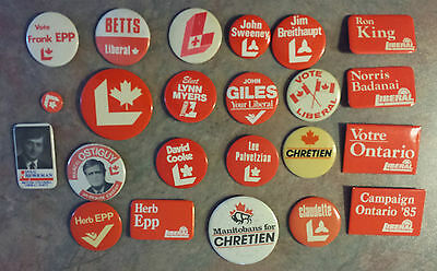 23 Liberal Party Campaign Political Pinback Buttons 70s-80s Canada Chretien