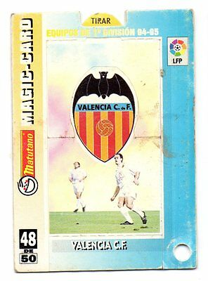 VALENCIA C.F.  MAGIC-CARD  48 DE 50 EQUIPOS  94-95 MATUTANO Ref:3652