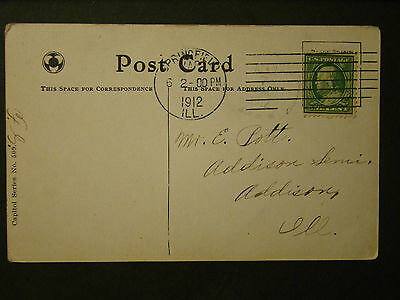 Early Us Post Card 1912 Springfield Ill To Addison Ill