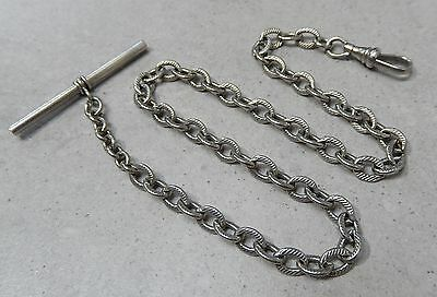 Antique Silver Plated Roped Texture Link Pocket Watch Fob Chain #81L