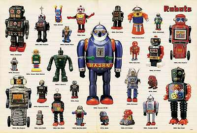 """ROBOTS TIN TOY ART RETRO VINTAGE THE POSTER 24""""x36"""" NEW SHEET SIDE WALL J-4053"""