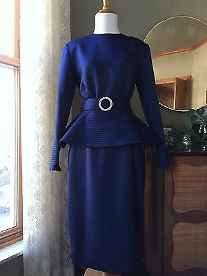 Victor Costa Dress Royal Navy Blue Satin Evening Formal Gown Peplum Vintage 80s