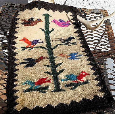 """Old Native Style Woven SM Wool Rug Tree of Life Birds 18"""" x13"""" vtg Blanket"""