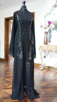 *LUXURY COLLECTION* Al Mazyoona Black Abaya Dubai Arabic Khaleeji Kaftan