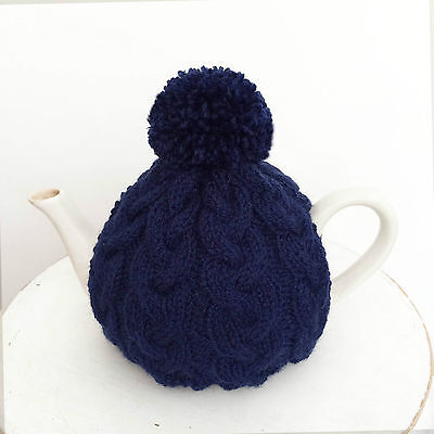 Hand Knitted Aran Style Tea Cosy with Pom Pom in Navy/Blue