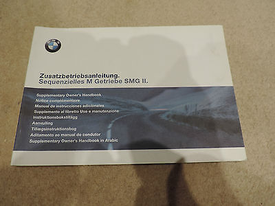 Bmw E46 M3 Smg 2 Ii Gearbox - Owners Manual - User Guide - Instruction Manual -