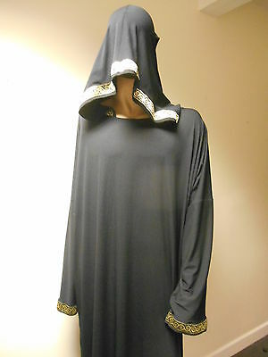 Custom-made long hooded ritual robe- black - XL-  wicca/witch/druid/LARP/cosplay