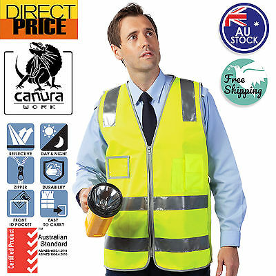 New HI VIS ZIP SAFETY VEST Yellow Reflective Tape Workwear Day Night Use POCKET