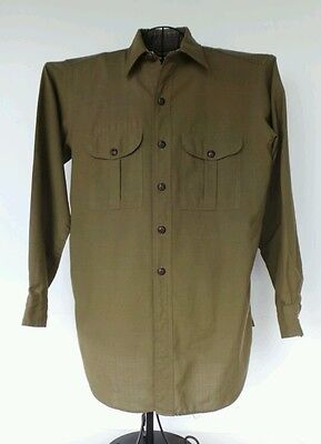 "60's Vintage BSA Boy Scouts Of America Green Shirt Unmarked Size (Measures 42"")"