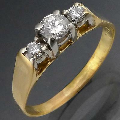 Vintage 1970's 18k Solid Yellow GOLD 3 DIAMOND ENGAGEMENT RING Val=$1730 Sz S
