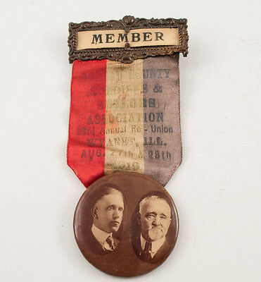 1919 Wwi Soldiers & Sailors Association Ribbon/pin Badge 1St Ww1 Soldier To Die