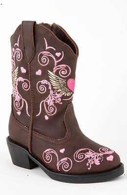 ROPER - Infant's Western Hearts Embroidered Boots - Brown - ( 17556456 ) - New