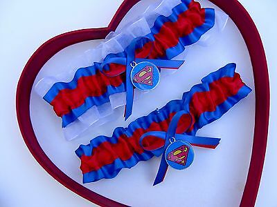 New Handmade Superman Wedding Garter Blue Red White Yellow Superhero Garter Prom