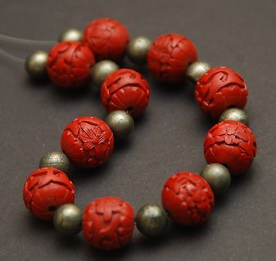 """VINTAGE Red Carved Cinnabar Beads_Old Chinese Silver Beads_8 3/4"""" Strand"""