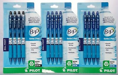 Pilot B2P Recycled Bottle to Pen Black Ink Ball Point Pens Medium 1.0mm 16 Count