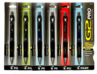 Pilot G2 Pro Retractable Gel Roller Black Ink Pens #31095 Fine Tip 0.7mm 6 Count